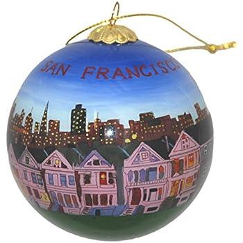 Hand Painted Glass Christmas Ornament - San Francisco, California Skyline  and Row House - Amazon.com: San Francisco Golden Gate Bridge Christmas Ornament