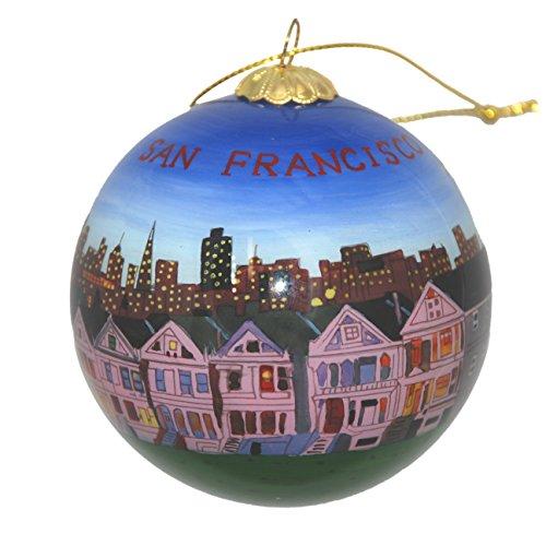 Hand Painted Glass Christmas Ornament - San Francisco, California Skyline and Row House -