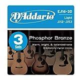 D'Addario EJ16-3D Phosphor Bronze Acoustic Guitar Strings, Light, 3 Sets, Best Gadgets