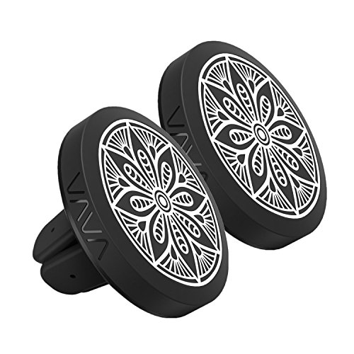 VAVA Magnetic Phone Holder for Car Air Vent, Magnet Car Phone Mount for iPhone X 8 Plus 7 Plus 6s Plus 6 SE Samsung Galaxy S9 Plus S8 Plus S8 Edge S7 S6 Note 8 and More - 2 Pack (Black Metal Plates) by VAVA