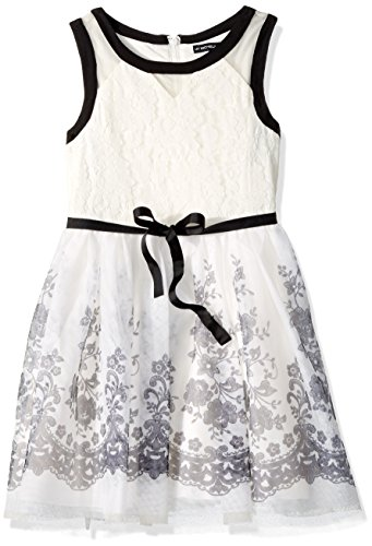 - My Michelle Girls' Big Special Occasion Dress in Printed Tulle, Ivory, 7