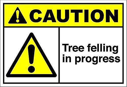 ツリー伐採の進行中の注意 金属板ブリキ看板注意サイン情報サイン金属安全サイン警告サイン表示パネル