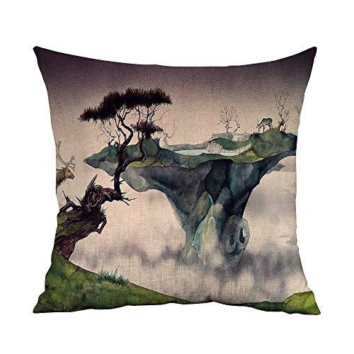 Estivation Decorative Square Accent Pillow Case Nature Deer Roger Dean W17.8 x L17.8,Throw Pillows for Couch Set
