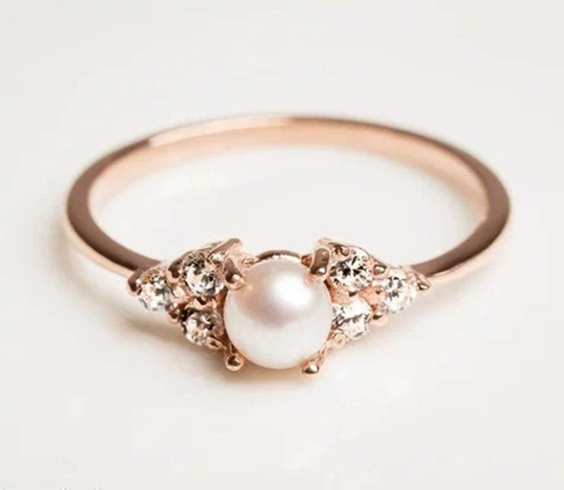 Qiaoying Elegant Pearl Rings 18k Rose Gold Filled CZ Crystal Fashion Engagement Wedding Jewelry 7