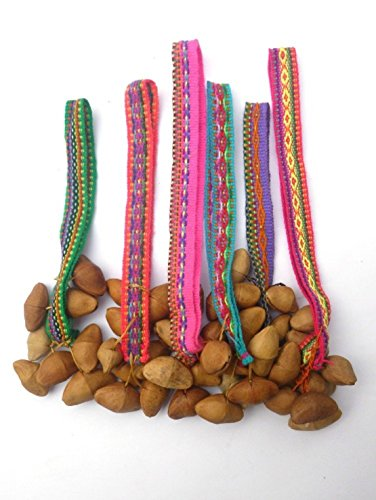 Six Colorful ceremonial Anklets with brazil nuts - Nice cheerful rattling anklet with Peruvian manta 6 ()