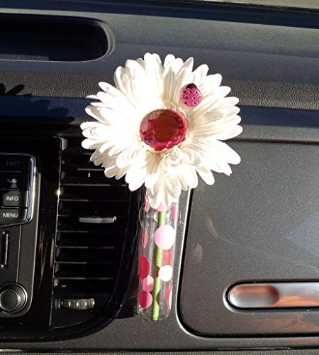 (Bling My Bug - White and Pink Bling Daisy with Universal Vase)