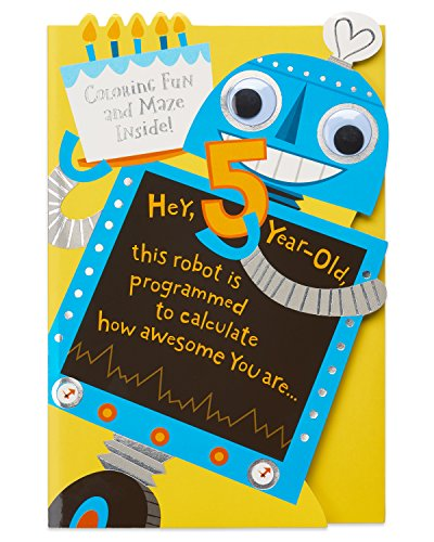 American Greetings Robot 5th Birthday Card for Boy with ()