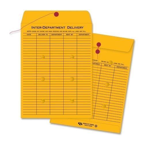 Quality Park 63560 Brown Recycled Kraft String & Button Interoffice Envelope 10 x 13 100/carton