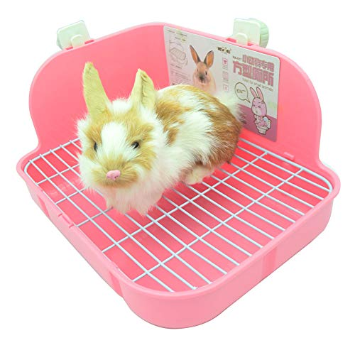 WYOK Rabbit Litter Box Toilet, Plastic Square Cage Box Potty Trainer Corner Litter Bedding Box Pet Pan for Small Animals, Rabbits, Guinea Pigs, Chinchilla, Ferret, Galesaur, 11.4 Inches (Pink)
