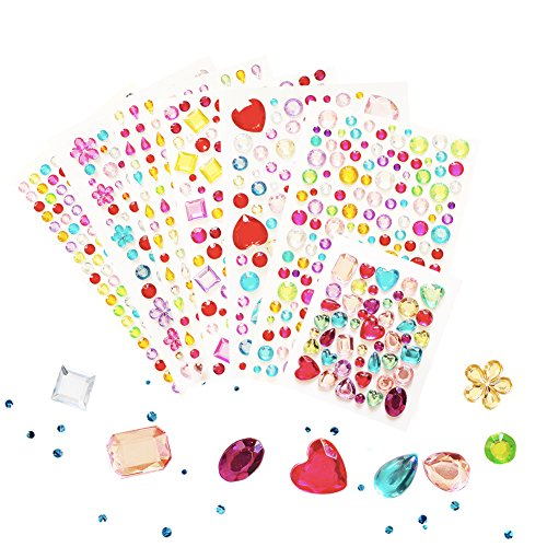 Red Rhinestone Heart (Self-adhesive Jewels Multicolor Rhinestone Sticker Sheets, for Face, Makeup, Carnival, Crafts , Scrapbooking Embellishments,Crystal Gem Stickers,Party decorations 7 Sheets)