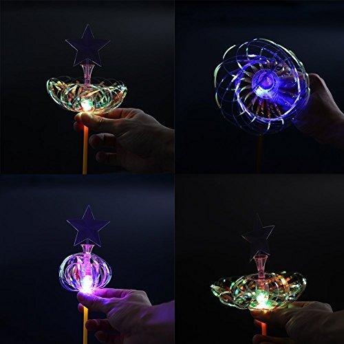 3Pcs Hot Amazing Light Up LED Sparkling Rainbow Bubble Flower Spindle Spinner Magic Wand Christmas Gift Kids Toy OOYE