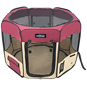 """EliteField 2-Door Soft Pet Playpen, Exercise Pen, Multiple Sizes and Colors Available for Dogs, Cats and Other Pets (48"""" x 48"""" x 32""""H, Maroon+Beige)"""