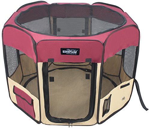 EliteField 2-Door Soft Pet Playpen, Exercise Pen, Multiple Sizes and Colors Available for Dogs, Cats and Other Pets (62″ x 62″ x 36″H, Maroon+Beige)