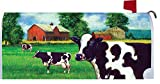 Cow Fields - Mailbox Makover Cover - Vinyl witn Magnetic Strips for Steel Standard Rural Mailbox - Copyright, Licensed and Trademarked by Custom Decor Inc.