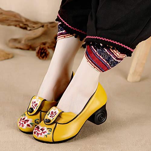 KPHY Damenschuhe/Herbst Schuhe Stickereien Schuhe Nationalen Stil Schuhe Stickereien Dicke Schuhe Mittleren und Älteren Alleinstehenden Schuhe Im Frühjahr und Herbst Leder Flache Schuhe Mund Mutter 39 Schwarz  - 87eeee