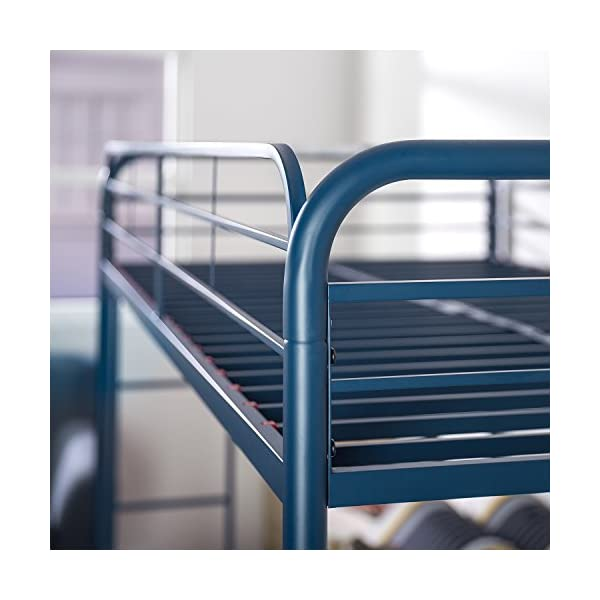 Zinus Easy Assembly Quick Lock Metal Bunk Bed Dual Ladders, Twin Over Twin, Blue 4