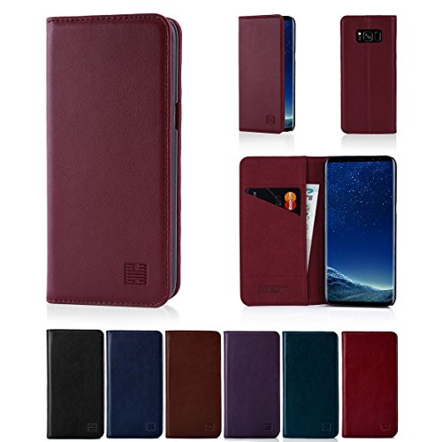 Samsung Galaxy S8 Plus Leather Wallet Case Designed by 32nd, Classic Design With Card Slot, Magnetic Closure and Built In Stand