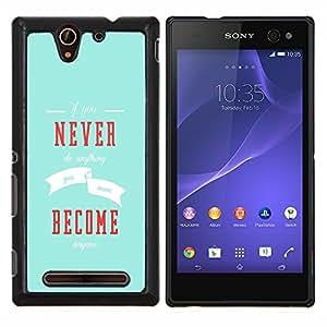 YiPhone /// Prima de resorte delgada de la cubierta del caso de Shell Armor - Nunca Conviértase Inspiring Mensaje Azul Moderno - Sony Xperia C3