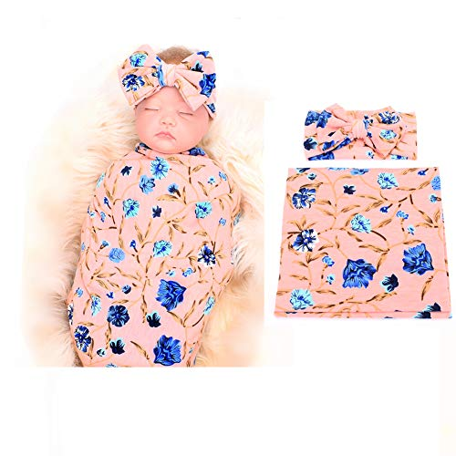 (Newborn Receiving Blanket Headband Set Flower Print Baby Swaddle Receiving Blankets galabloomer)