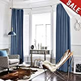 jinchan Half Blackout Velvet Curtains for Bedroom, Thermal Insulated Rod Pocket Curtain Panels