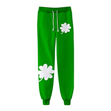 fb0a23b45 IAMUP Ladies and Men Pants Women Man ST Patrick's Day Green Elastic Plus  Size Print Trousers