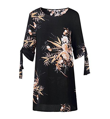 Vestidos Manga Hermoso Playa de Vestido Partido Vendaje Redondo Cuello Mini Fiesta Verano 1 Mujeres Casual Impresión Moda Negro Media de 7qw146