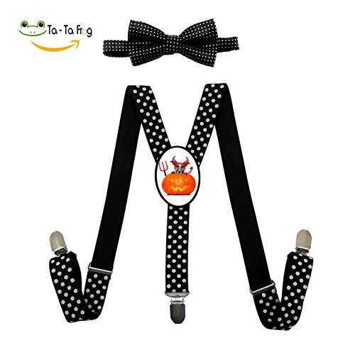 Jack Russell Terrier Halloween Costume Adjustable Suspenders Y-Back Suspender Bow Tie Bowknot Set Unisex Red Blue Black