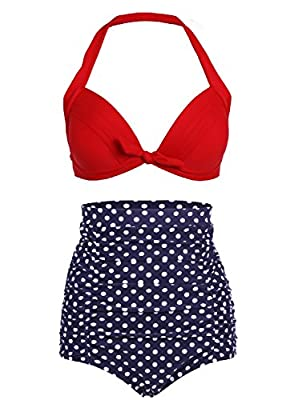 Cocoship Retro Red Leopard Polka Floral Print High Waist Bikini Swimsuits(FBA)
