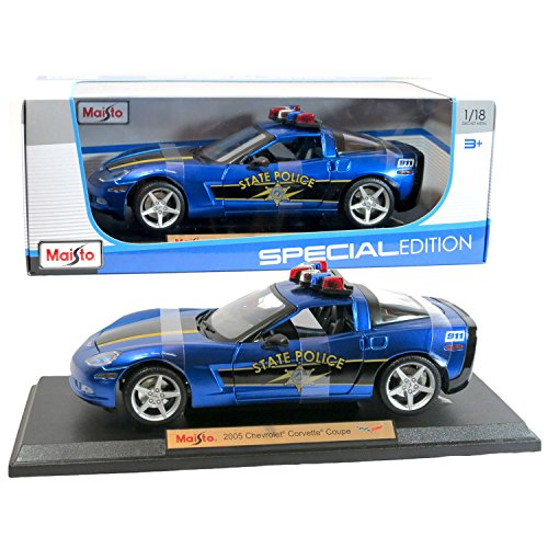 Maisto Year 2015 Special Edition Series 1:18 Scale Die Cast Car Set - Blue Color 2005 State Police Cruiser CHEVROLET CORVETTE COUPE with Display Base (Car Dimension: 9