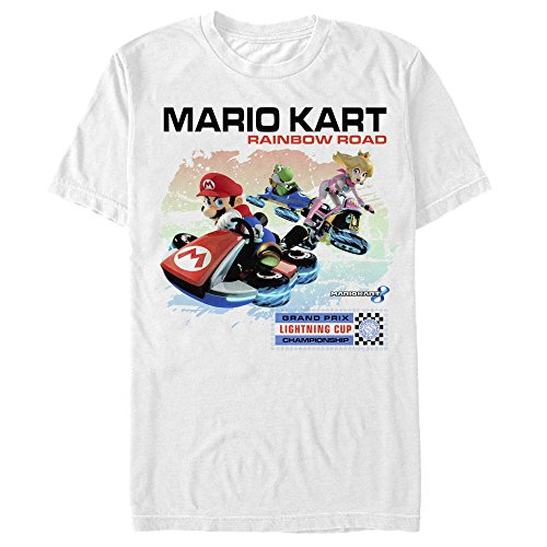 Fifth Sun Nintendo Men's Mario Kart Rainbow Road White T-Shirt