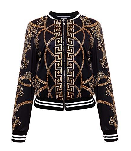Legendaryman Printemps et Automne Femmes Bomber Veste Mode Africain Imprime Jacket Manteau Tops Overcoat Outerwear Casual Coat Manches Longues Blousons Haut avec Zippee Noir
