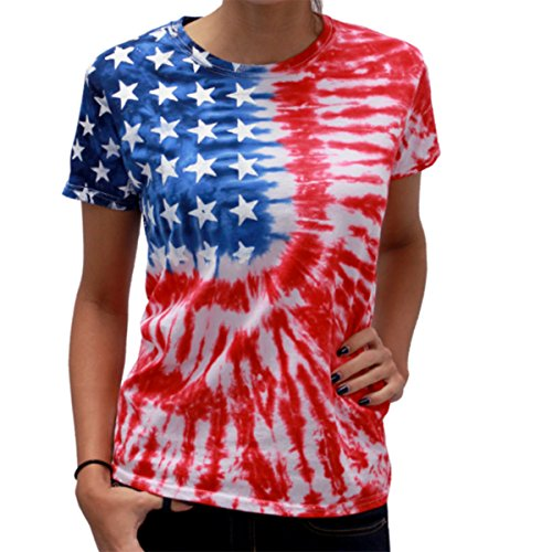 Ladies Tie Dye Flag Tee (large)