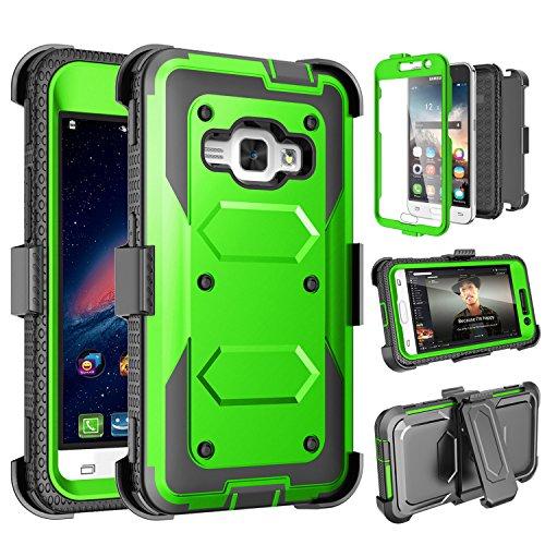 Galaxy Luna Case, Galaxy Amp 2 Case, Galaxy Express 3 Case,J1 2016 Case, Tinysaturn(TM) [Yvenus Series] [Green] Shock Absorbing Holster Belt Clip [Built-in Screen] Cover for Samsung Galaxy J1 2016 ()