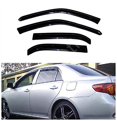 itelleti 4pcs Outside Mount Dark Smoke Sun/Rain Guard Front+Rear Tape-On Auto Window Visors For 09-13 Toyota Corolla