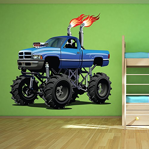Blue Monster Truck Wall Sticker Cool Vehicle Wall Decal Boys Bedroom Home Decor available in 8 Sizes XXX-Large - Blue Truck Cool