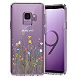 Unov Galaxy S9 Case Clear with Design Soft TPU Shock Absorption Slim Embossed Floral Pattern Protective Back Cover for Galaxy S9 (Flower Bouquet)