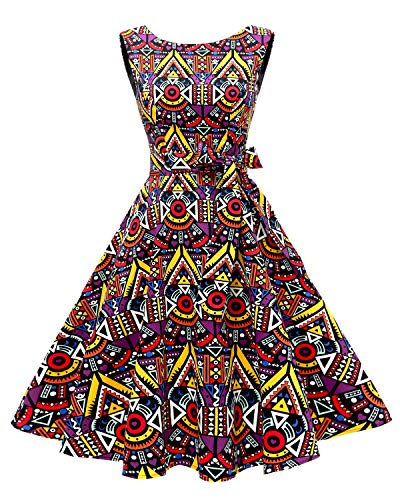 Hanpceirs Women's Boatneck Sleeveless Swing Vintage 1950s Cocktail Dress African, XS(fit US 0-2)