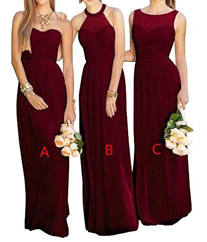 Line Chiffon Lovelybride c Prom Dress Burgundy Bridesmaid Wedding A Party Dress Pink Long ExqnZgqR