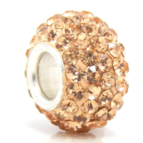 """Jewelry Monster """"Peach Birthstone Pave Crystal Spacer"""" Charm Bead for Snake Chain Charm Bracelet"""