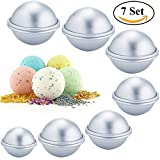 Metal Bath Bomb Mold Set,Bath Bomb Molds Kit for Homemade 3 Sizes 7 Sets 14 Pcs and 100 PCS Shrink Wrap Bags-Extra Thick Aluminum Alloy- Easy to Use and Sturdy