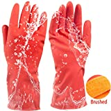 olyclass Plus Cashmere Short Dishwashing Gloves Quality Natural Rubber Home Warm Laundry Waterproof Household Gloves 1Pairs Red