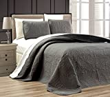 3-Piece GREY / BLACK Oversize ''ORNATO'' Reversible Bedspread KING / CAL KING Embossed Coverlet set 118 by 106-Inch