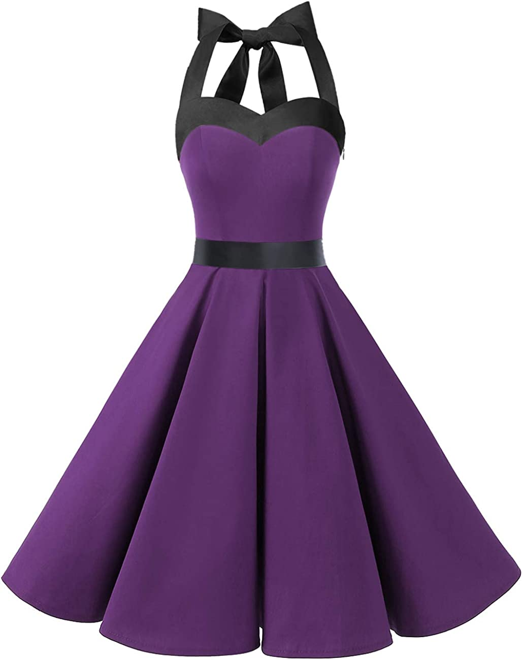 TALLA XS. DRESSTELLS® Halter 50s Rockabilly Polka Dots Audrey Dress Retro Cocktail Dress Purple Black XS
