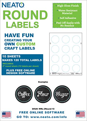 "Neato Blank White 2"" Round Printable Labels - 10 Sheets - 120 Total Labels - Water Resistant Glossy Vinyl Material for Inkjet Printers - Online Design Label Studio Included"