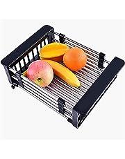 Mobile Drain Basket, Stainless Steel Telescopic Drain Basket,Kitchen Drain Rack,for Vegetable and Fruit Drain Basket