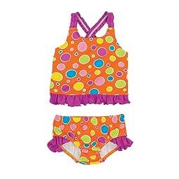 Orange Dots Girls Swim Tankini Top and Bottom 18 Mos.