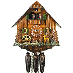 German Cuckoo Clock 8-day-movement Chalet-Style 13.00 inch - Authentic black forest cuckoo clock by August Schwer