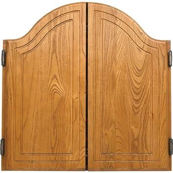 Amazon.com : Arched Oak Dart Board Cabinet : Dartboard Cabinets ...