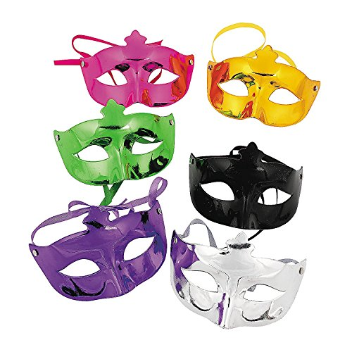 Fun Express Mardi Gras Masquerade Face Masks Costume Accessories - 12 Pack - Best Mardi Gras Costumes