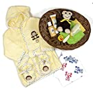 Sunshine Gift Baskets - 11 Piece Bath Time Gift Set - Baby Bath Robe and Slippers (Yellow) with Burt's Bees Shampoo and Lotion